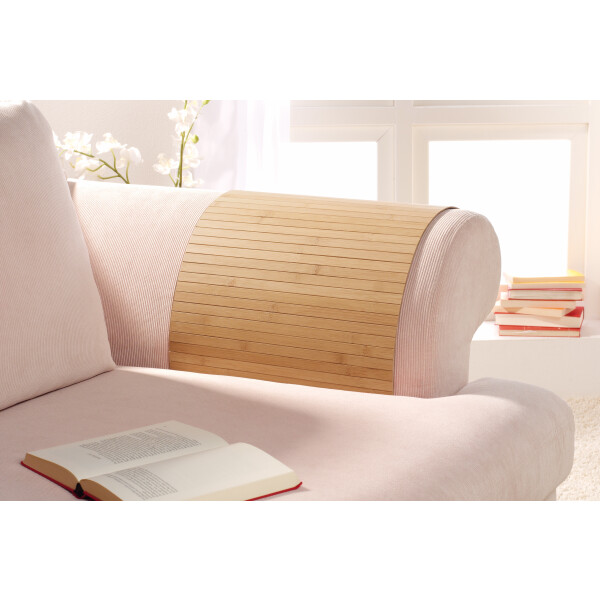 Lehnenschoner aus massiven Bambus Sofatablett Tablett Ablage Armlehne Sofa Couch nature 40 cm x 60 cm