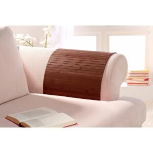 Lehnenschoner aus massiven Bambus Sofatablett Tablett Ablage Armlehne Sofa Couch mocha 30 cm x 50 cm