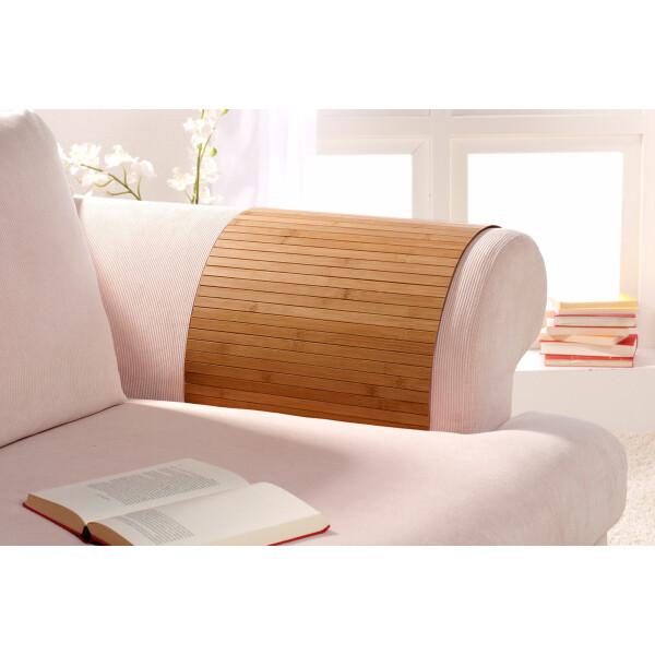 Lehnenschoner aus massiven Bambus Sofatablett Tablett Ablage Armlehne Sofa Couch gold 50 cm x 70 cm