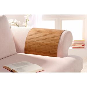 Lehnenschoner aus massiven Bambus Sofatablett Tablett Ablage Armlehne Sofa Couch gold 20 cm x 40 cm