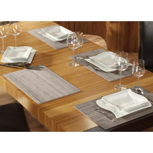 Tischset aus Bambus, Platzmatte/Untersetzer abwaschbar, Tischläufer - in 9Farben Tischsets 6 St. a 30x45 cm powder