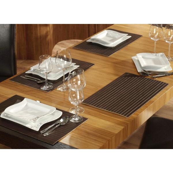 Tischset aus Bambus, Platzmatte/Untersetzer abwaschbar, Tischläufer - in 9Farben Tischsets 6 St. a 30x45 cm mocha