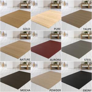 Bambusteppich SOLID pure, Maß ca. 200x200 cm, 50mm Stege auf Gazevliesrücken