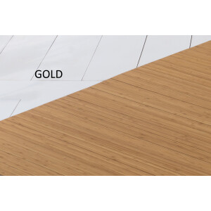 Bambusteppich SOLID gold, Maß ca. 60x200 cm, 50mm Stege auf Gazevliesrücken