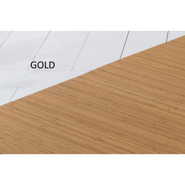 Bambusteppich SOLID gold, Maß ca. 120x180 cm, 50mm Stege auf Gazevliesrücken