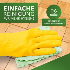 Rutschfester Badteppich aus Bambus, KARO Farbe nature 50 x 80 cm