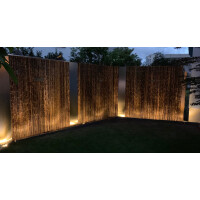 Robuster Bambus Holz Sicht Schutz Zaun ATY NIGRA von DE-COmmerce® I hochwertiger Windschutz Terrasse, Balkon, Garten I Bambusrohr Zaun mit geschlossenen Rohren