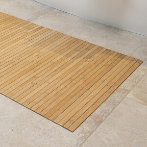 LINES Bamboo Badematte I Anti-rutsch Matte in edler Holzoptik classic 50 x 80 cm