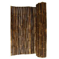 Robuster Bambus Holz Sicht Schutz Zaun BLACK von DE-COmmerce® I hochwertiger Windschutz Terrasse, Balkon, Garten I Bambusrohr Zaun mit geschlossenen Rohren