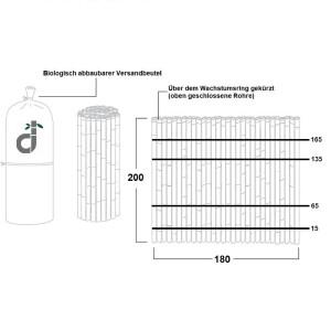 Robuster Bambus Holz Sicht Schutz Zaun DELUXE von DE-COmmerce® I hochwertiger Windschutz Terrasse, Balkon, Garten I Bambusrohr Zaun mit geschlossenen Rohren (HxB) 200 x 180 cm
