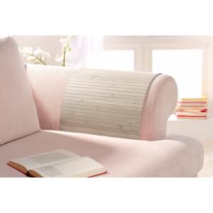 Lehnenschoner aus massiven Bambus Sofatablett Tablett Ablage Armlehne Sofa Couch powder 40 cm x 120 cm