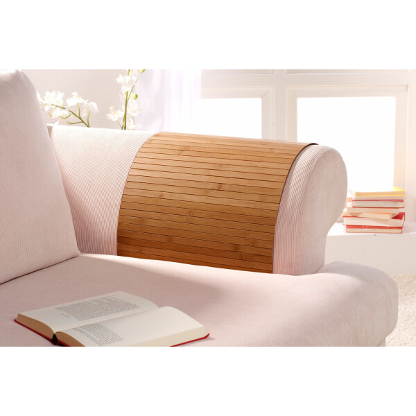 Lehnenschoner aus massiven Bambus Sofatablett Tablett Ablage Armlehne Sofa Couch gold 50 cm x 120 cm