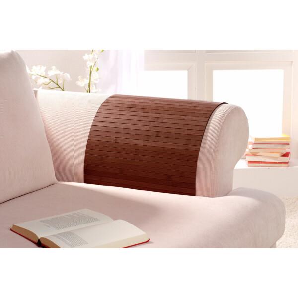 Lehnenschoner aus massiven Bambus Sofatablett Tablett Ablage Armlehne Sofa Couch mocha 60 cm x 120 cm